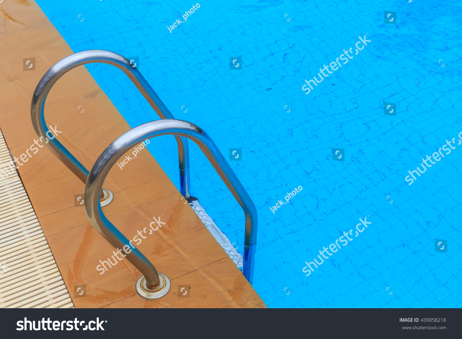 Grab Bars Ladder In The Blue Swimming Pool Stock Photo 439058218 Shutterstock