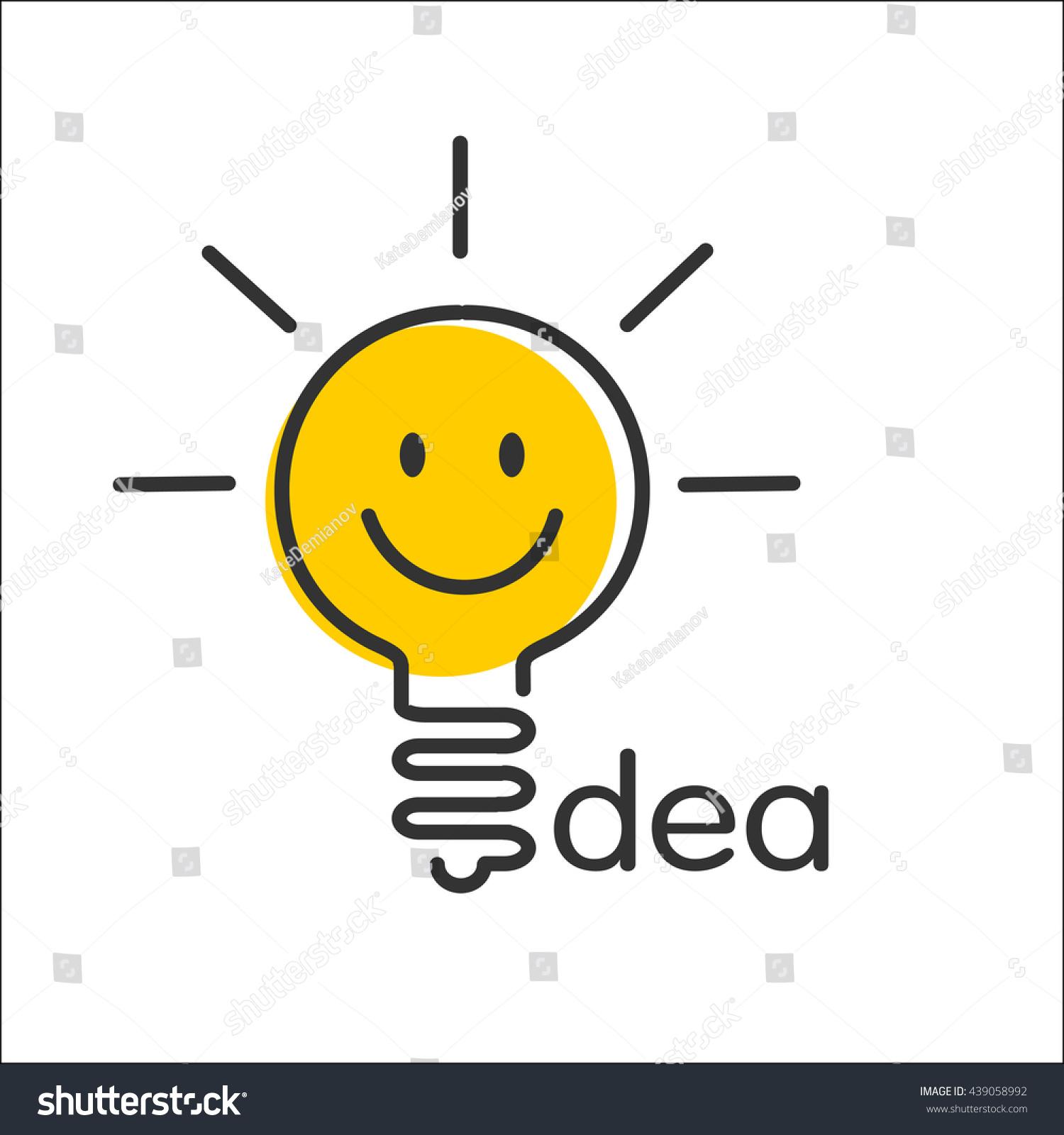 Idea Icon Light Bulb Smiley Vector Stock Vector 439058992