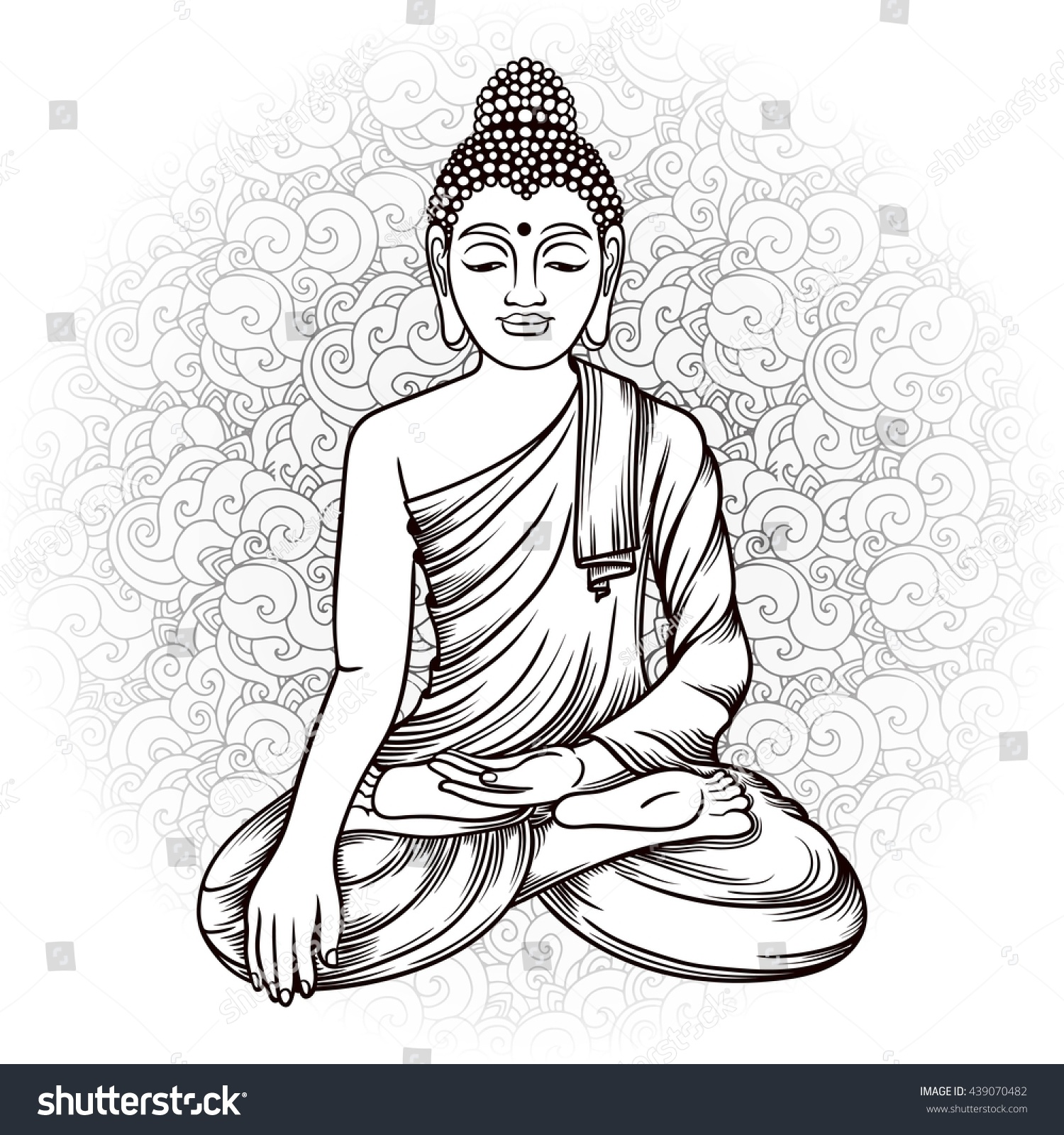 buddha gautama doodle background vector illustration stock vector