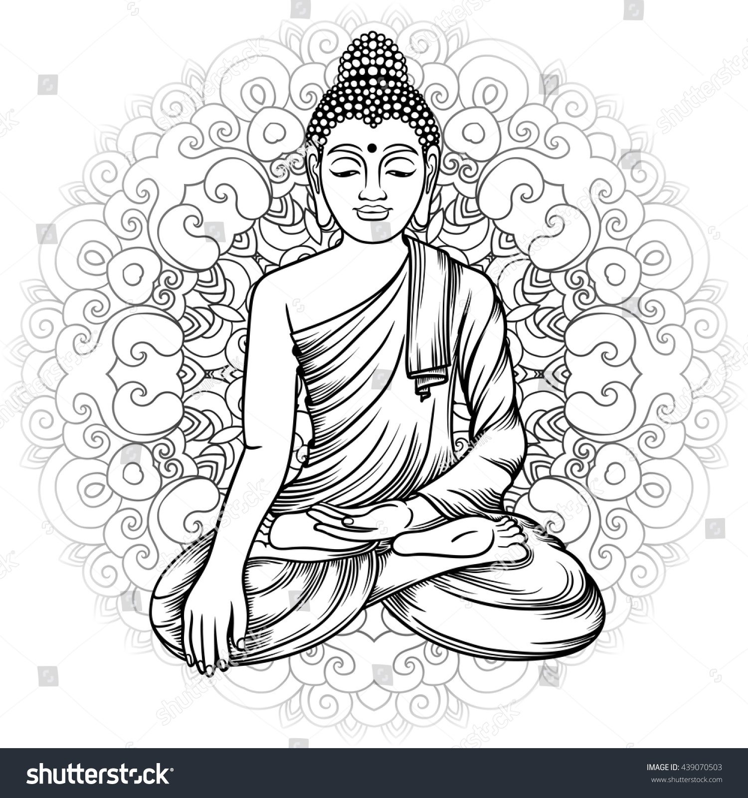 buddha gautama mandala vector illustration vintage stock vector