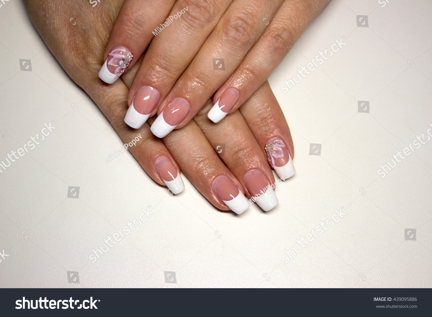 Beautiful Nail Design French Manicure Pink Stock Photo (Royalty Free ...