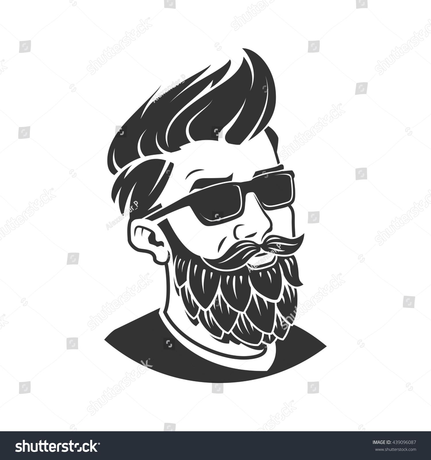Man Beard Form Hop Vector Illustration Stock Vector