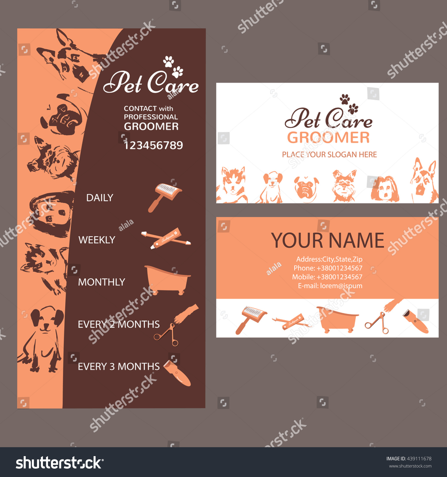 Business Card Grooming Service Pet Informative Stock Vector ...
