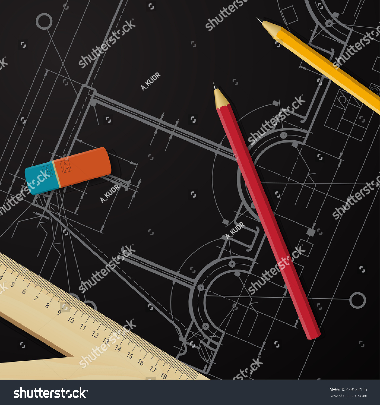 Vector technical blueprint mechanism engineer illustration stock vector technical blueprint of mechanism engineer illustration architecture background malvernweather Images