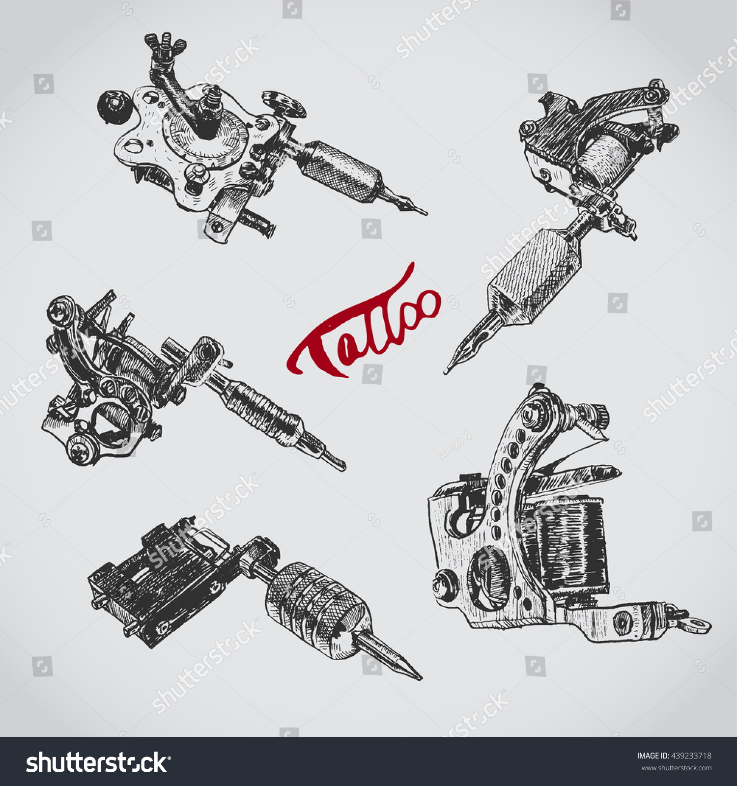 Set Of Different Style Realistic Tattoo Machines Vintage Old School Collection