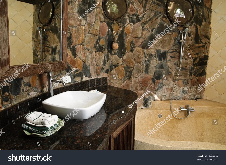 Thai Style Bathroom Stone Walls Stock Photo 43923559 - Shutterstock