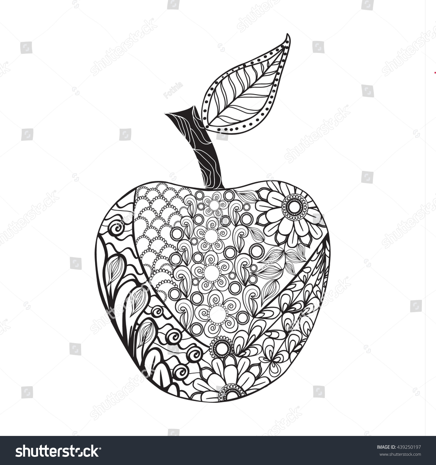 Vector Monochrome Apple Zentangle Style For Coloring Book Hand Drawn Decorative Fruit Illustration Doodle Outline