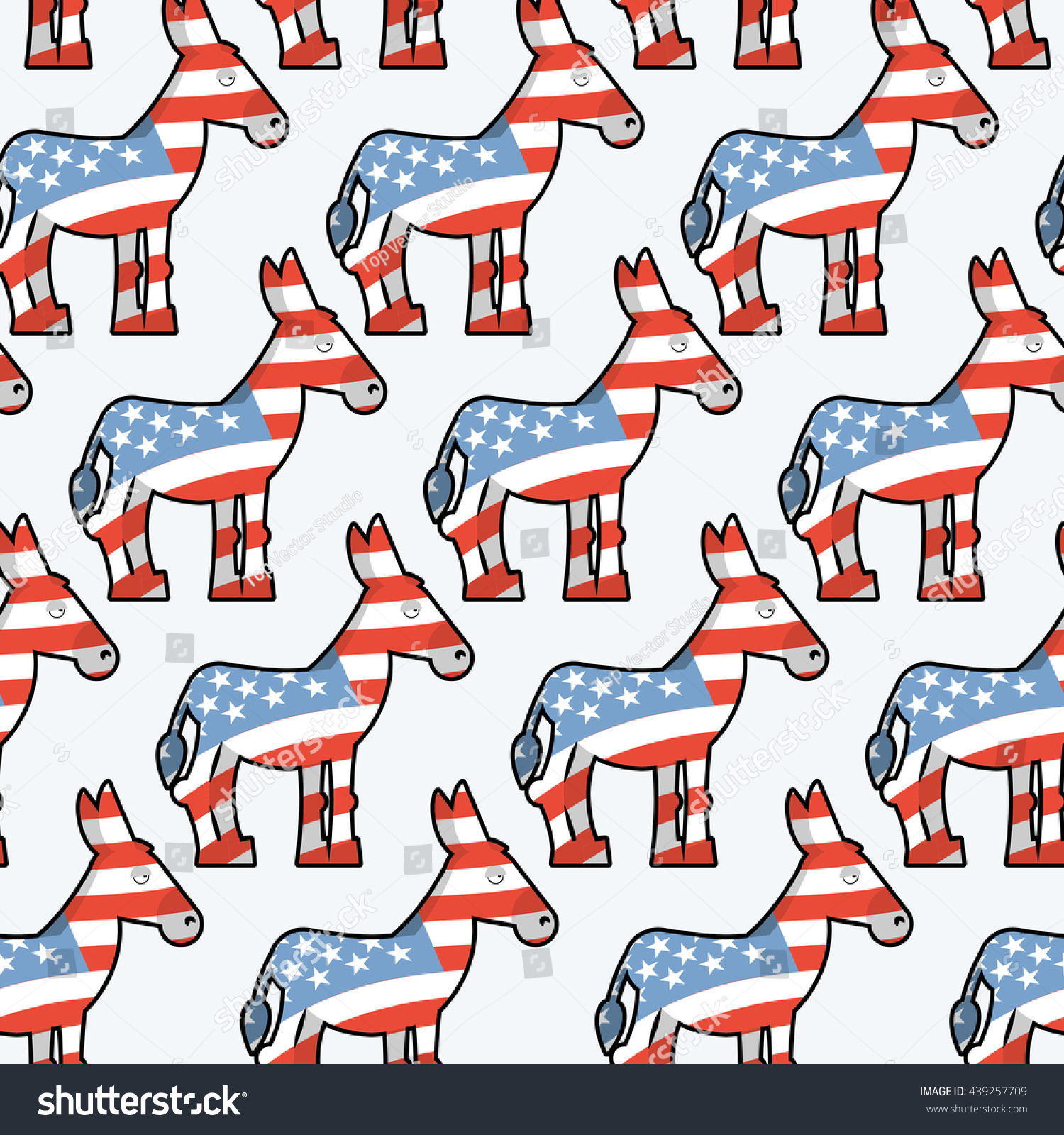 Democrat Donkey Seamless Pattern Animal Texture Stock Illustration