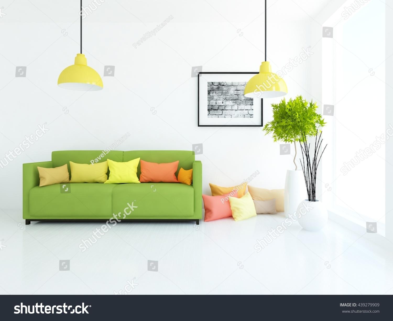White room green sofa living room stock illustration for Living room with green sofa