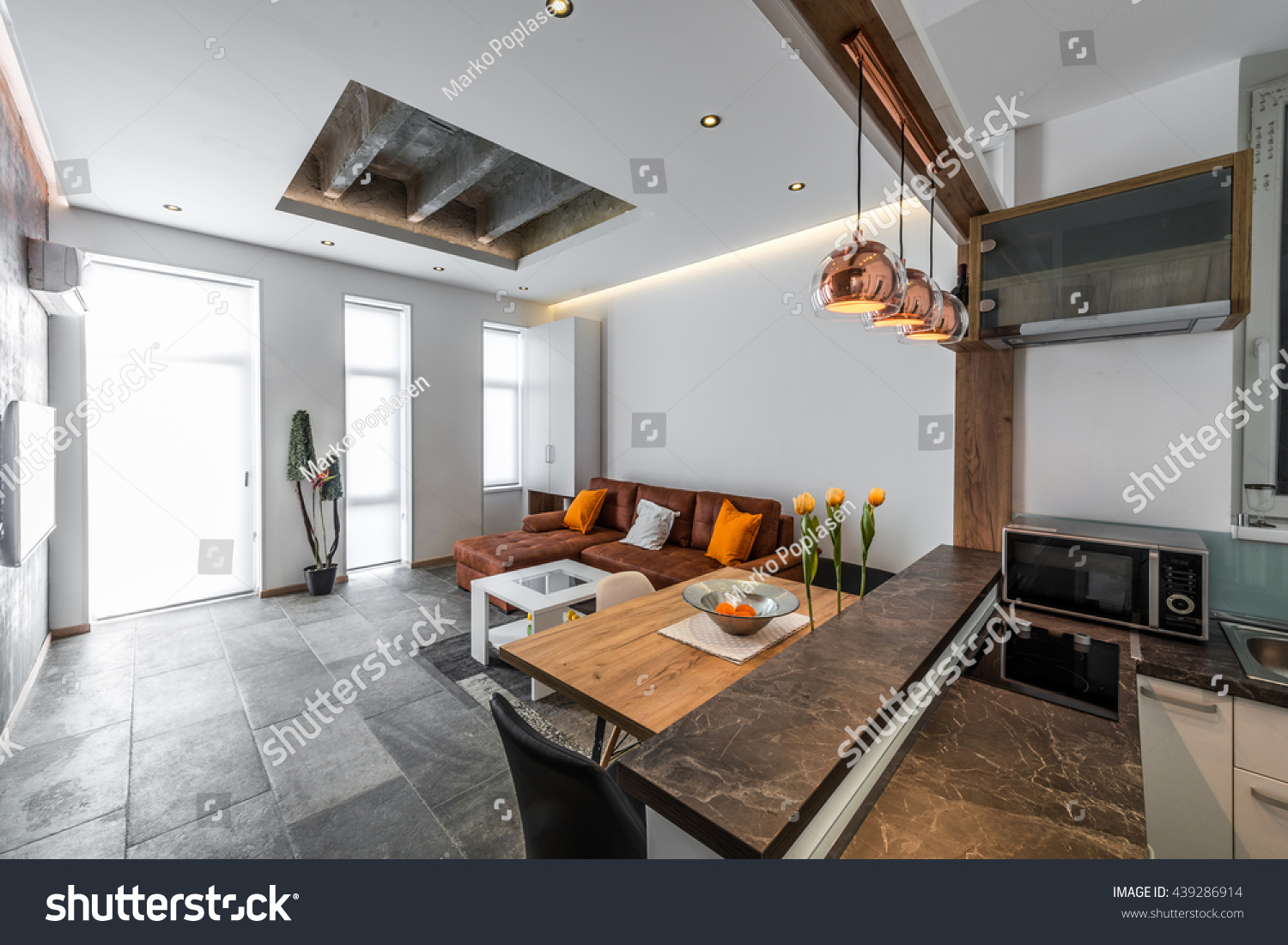 View Kitchen Living Room Modern Flat Stock Photo Edit Now 439286914