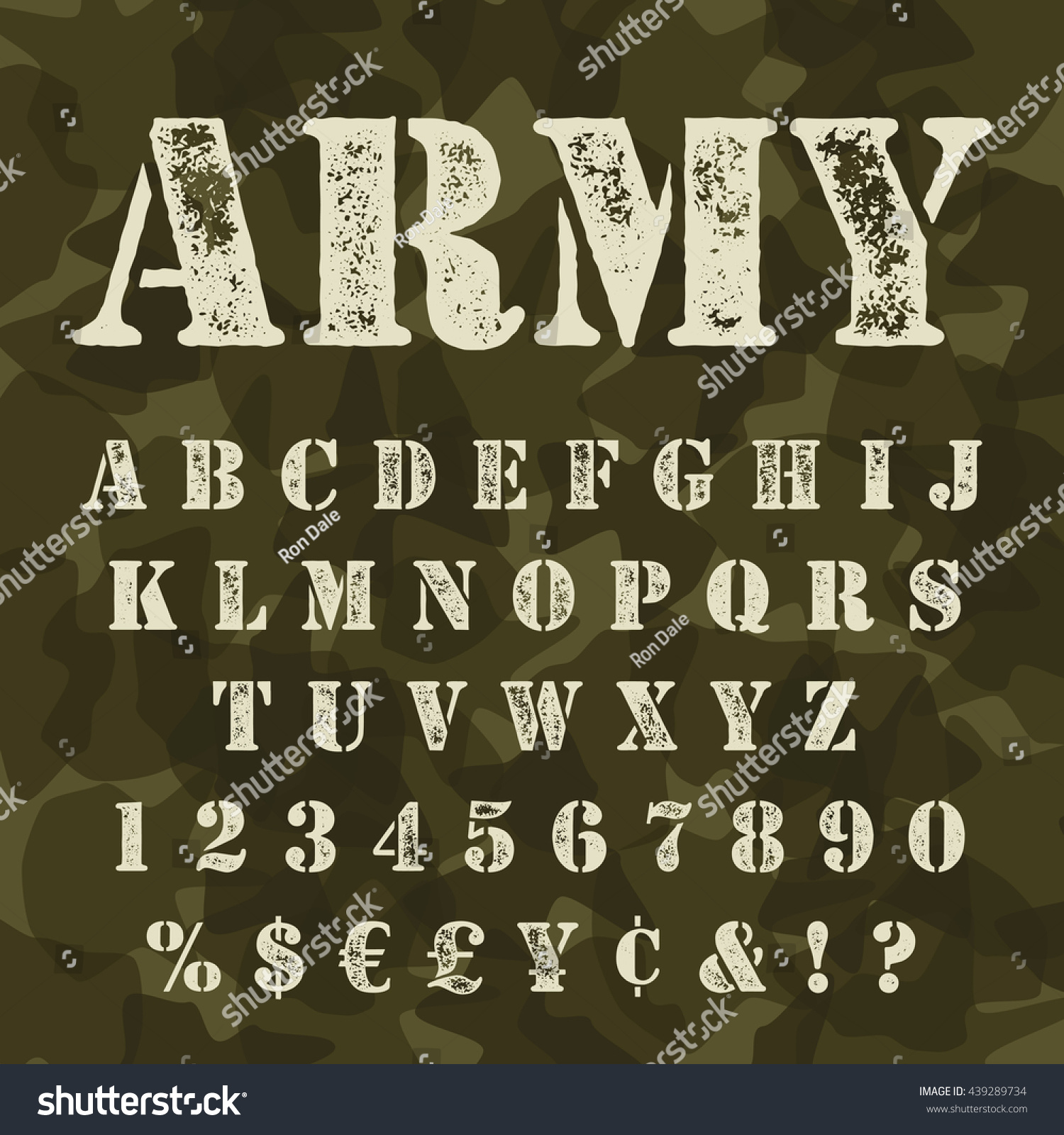 Military Stencial Alphabet Army Stencial Lettering Stock