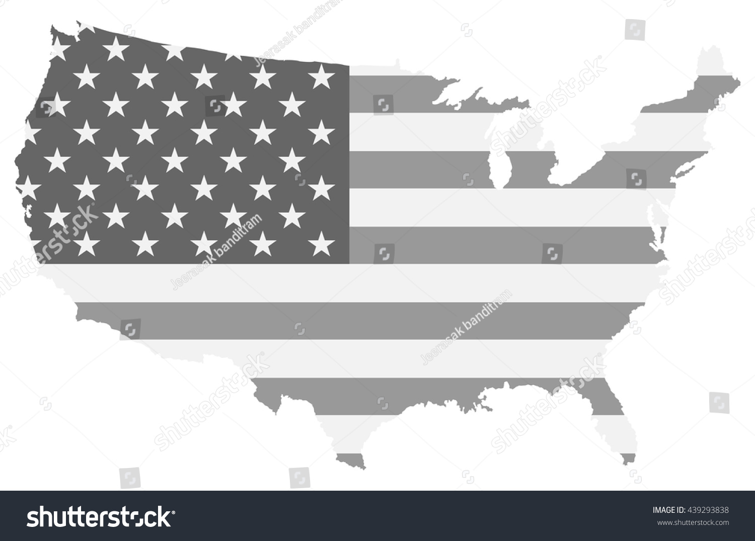 Physical Map Of The United States Black And White US Outline Wall - Black and white usa map