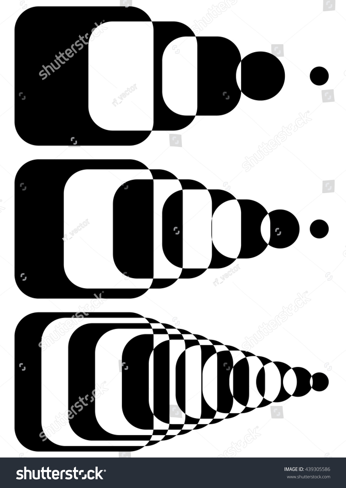 Blended Intersecting Shapes Set 3 Intensity Stock Vector 439305586