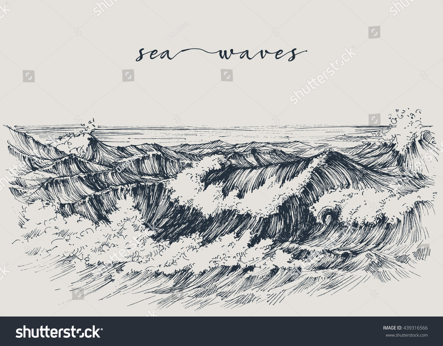 Sea ocean waves drawing sea view stock vector 439316566 shutterstock sea or ocean waves drawing sea view waves breaking on the beach ccuart Gallery