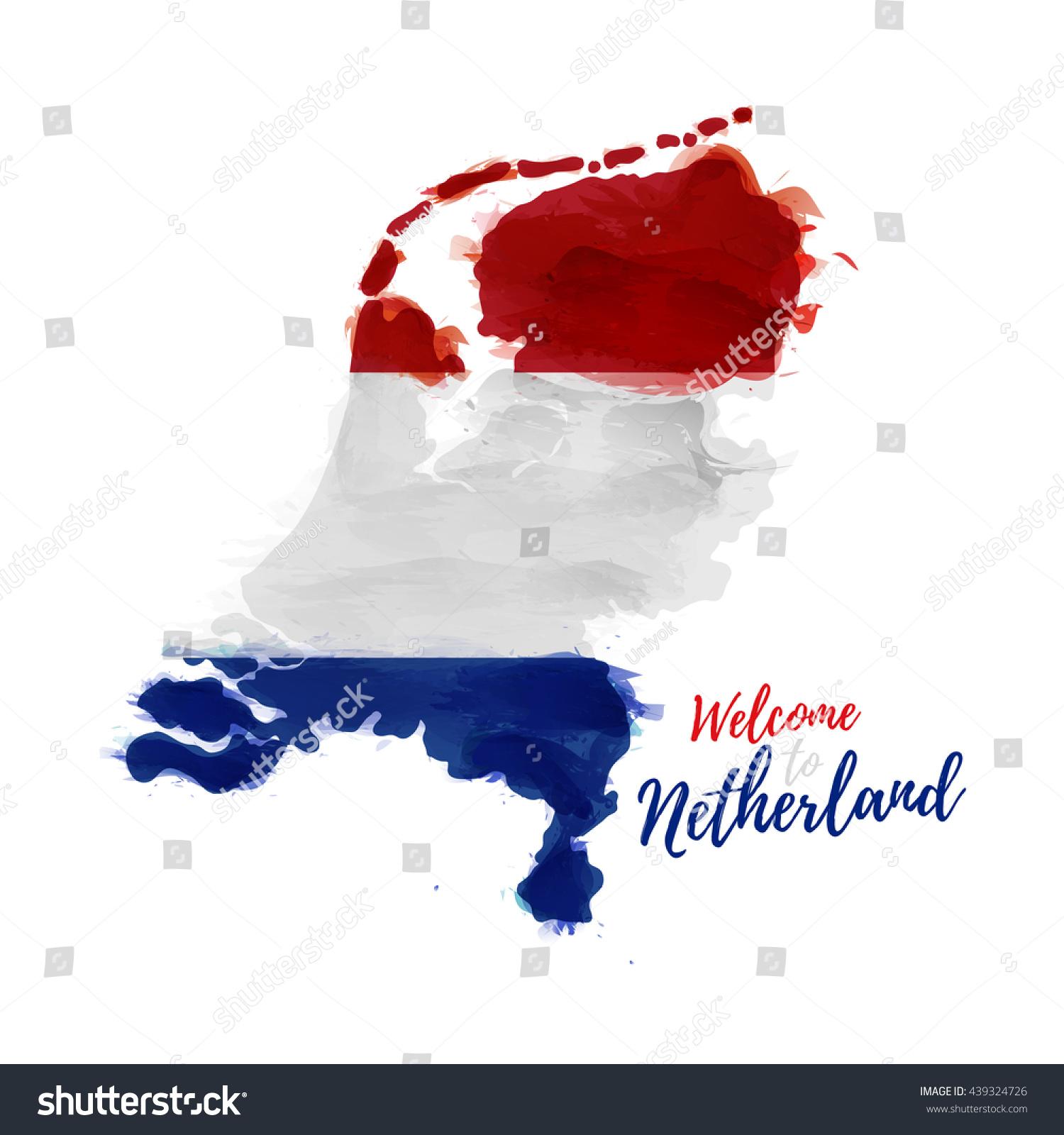 symbol poster banner netherlands map holland stock vector