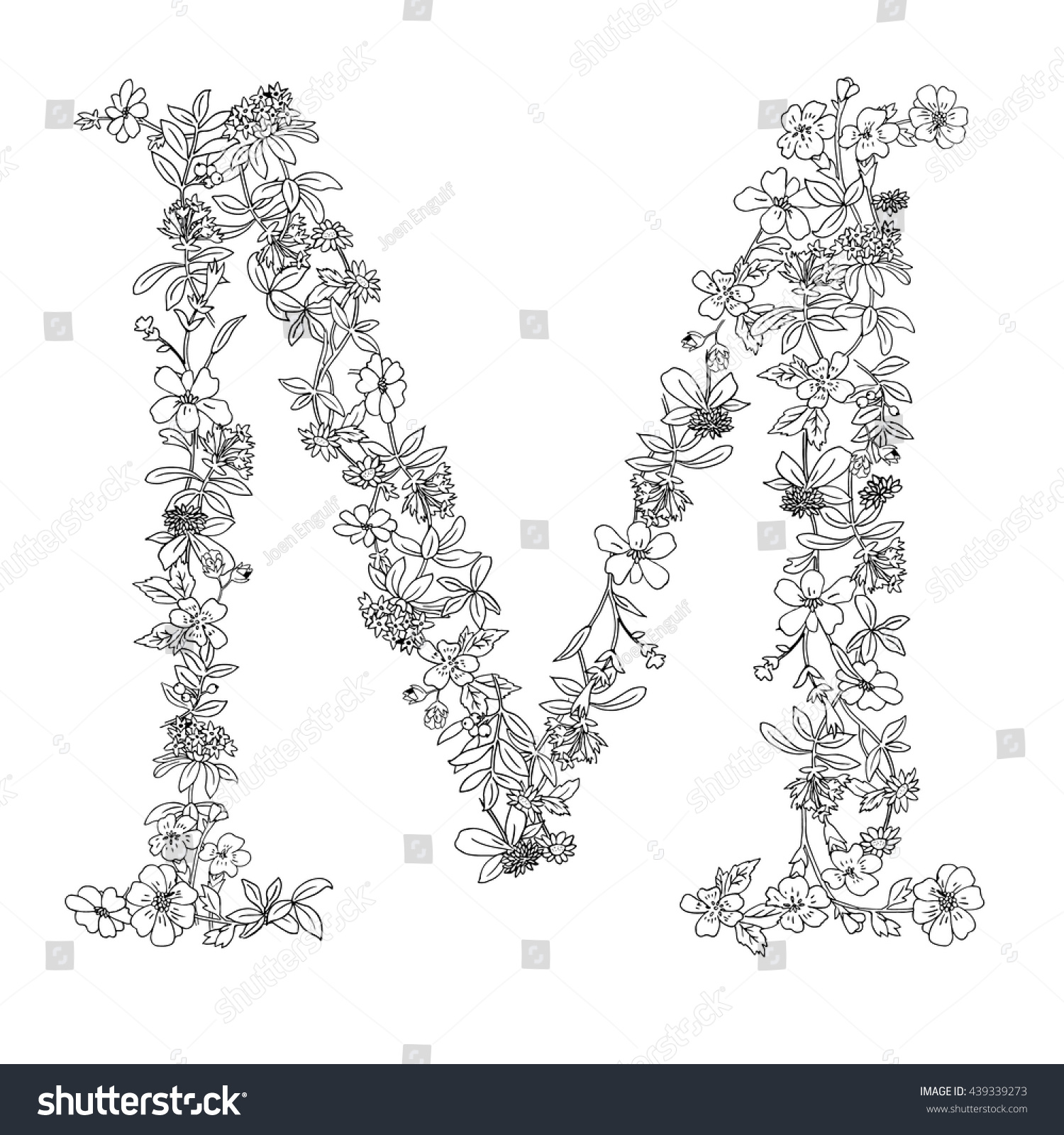 elegant black white floral english typography stock vector