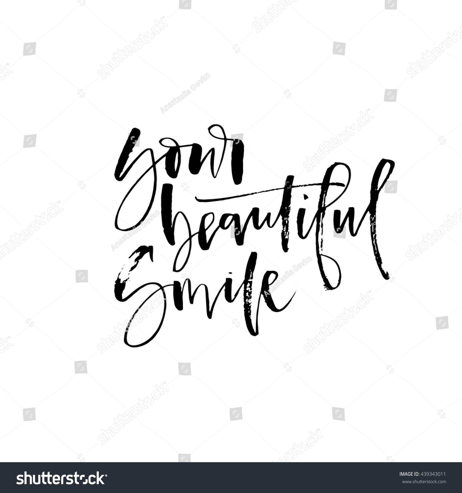 Your Beautiful Smile Card Hand Drawn Stock Vector