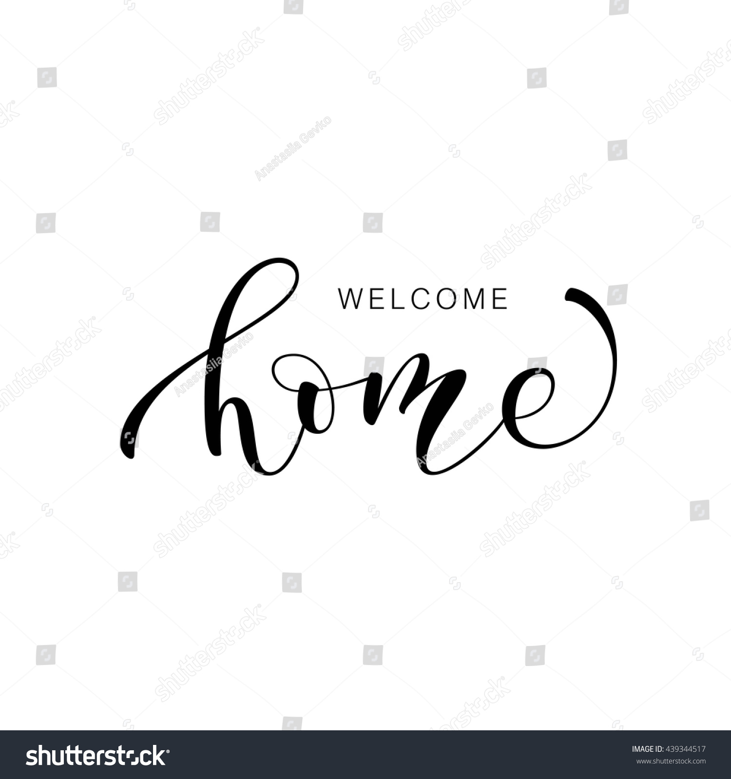 Welcome home card hand drawn lettering stock vector