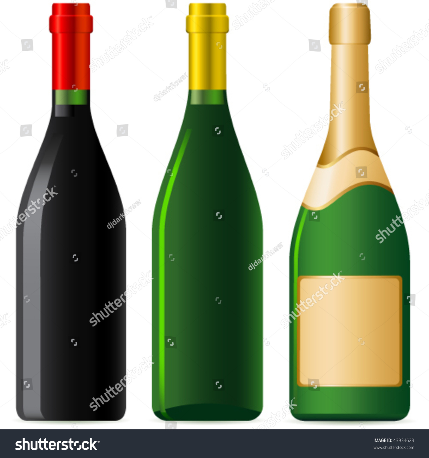 Wine Bottle Champagne Bottle Isolated On Stock Vector ...