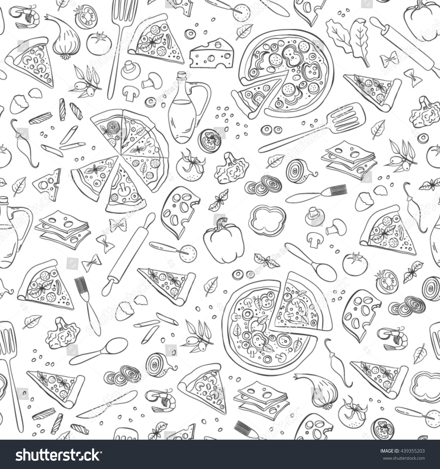 Pizza seamless pattern useful restaurant identity stock
