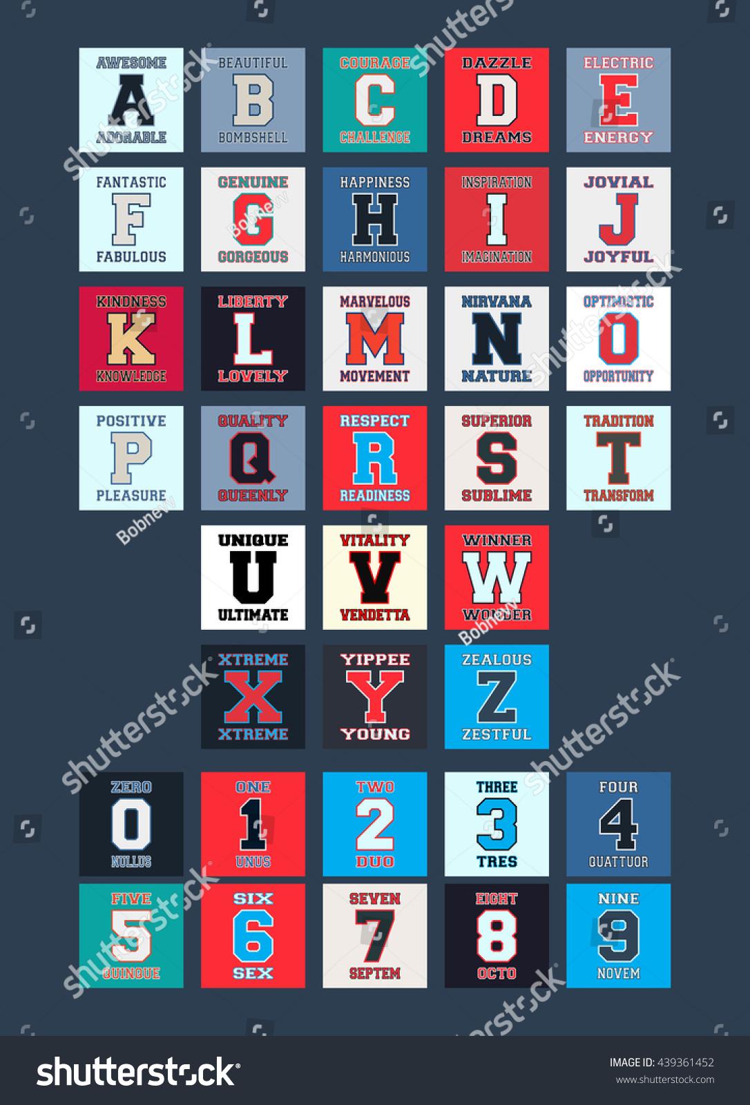 letters numbers tshirt prints design alphabet stock vector