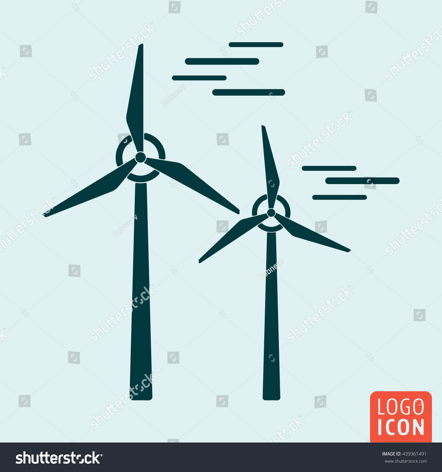 Windmill Icon Isolated Wind Turbine Icon Stock Vector Royalty Free