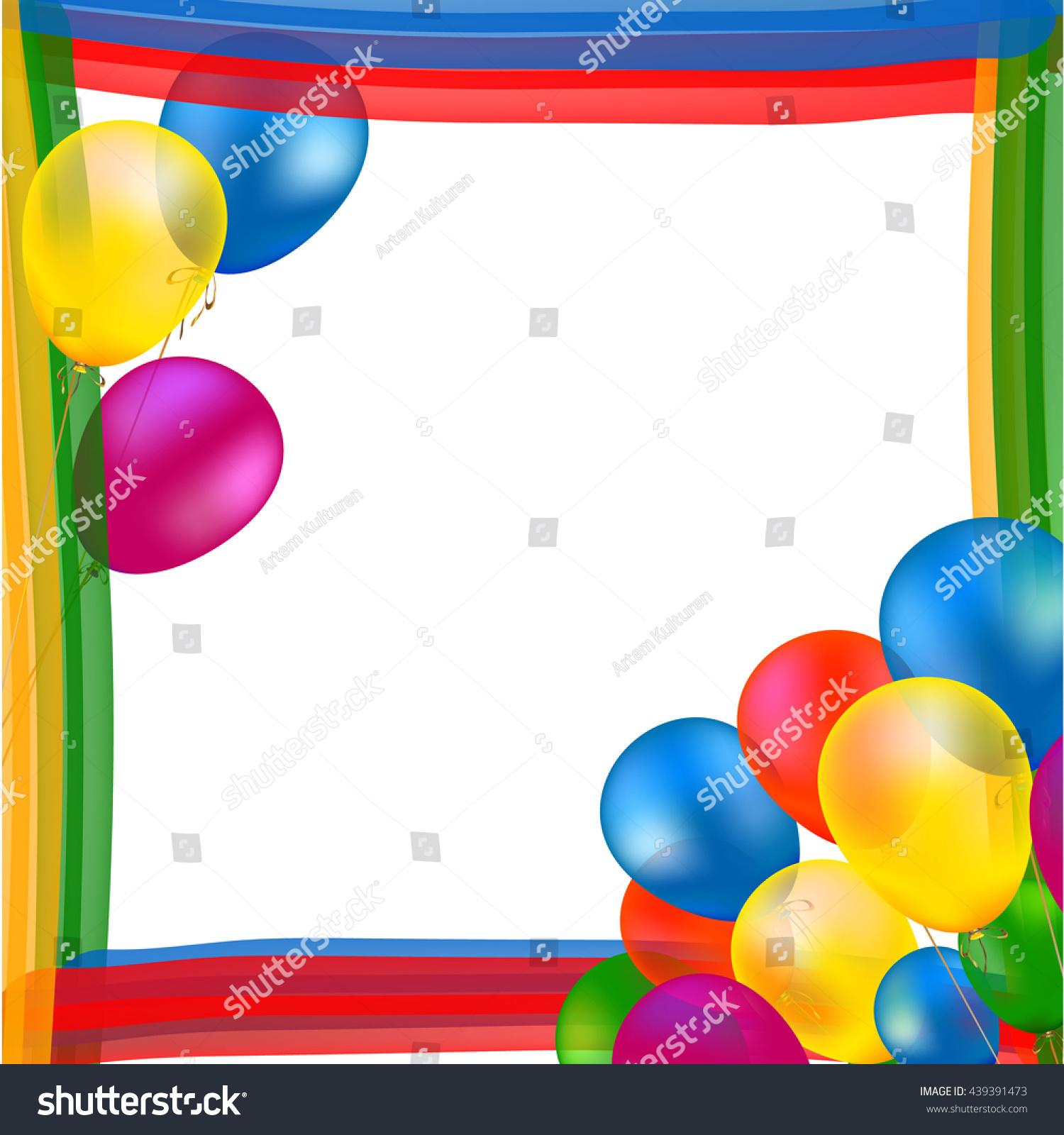 Abstract Balloon Rainbow Frame Vector Party Stock Vector 439391473 ...