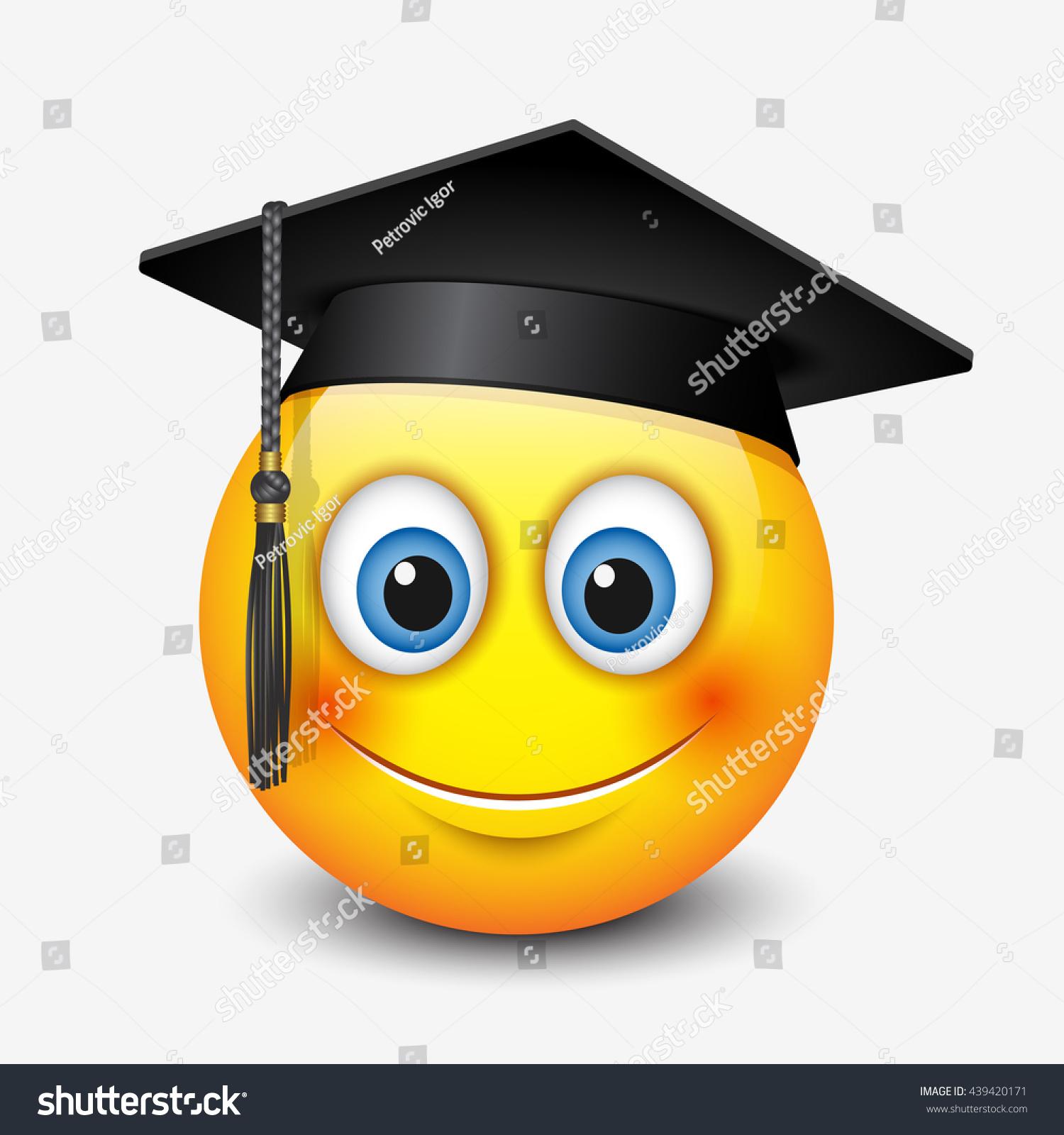 cute smiling emoticon wearing mortar board stock vector