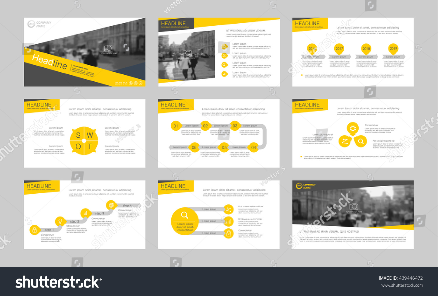 Set Yellow Infographic Elements Presentation Templates Stock ...