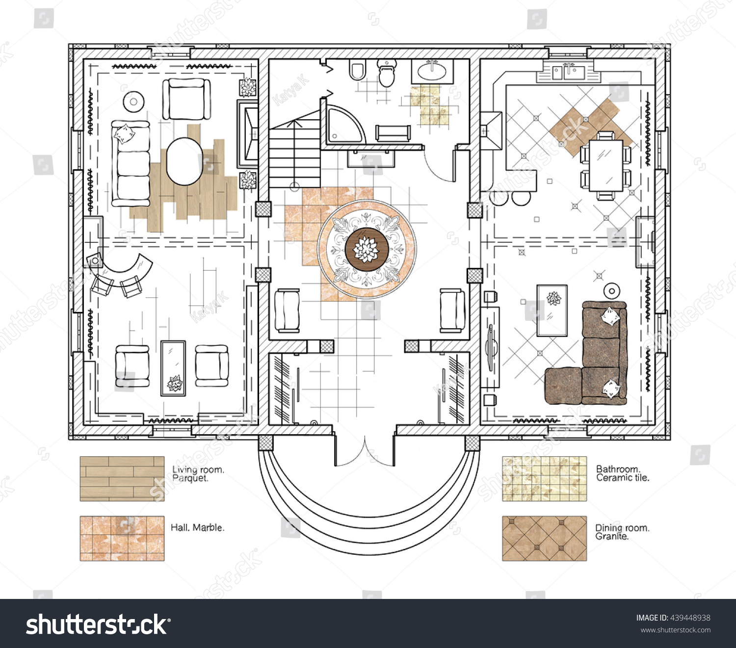 architecture design house drawing. Architectural Drawing. The Design Of House. A Floor Plan With Furniture And Finishing Architecture House Drawing