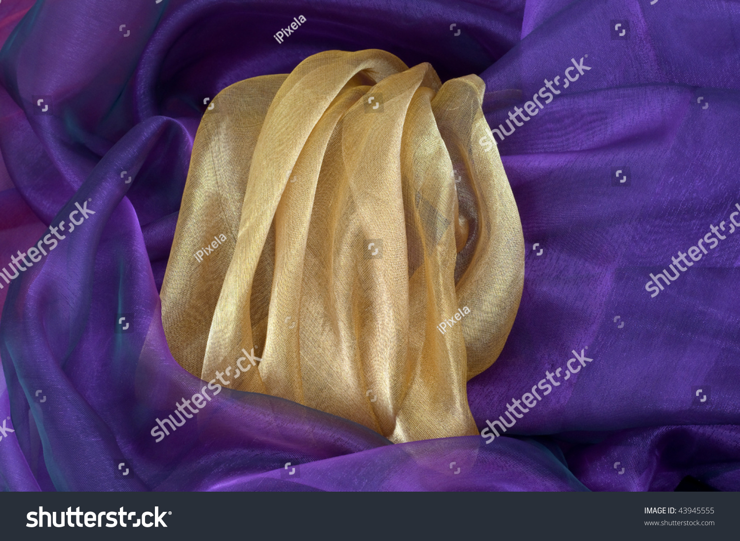Gold And Purple Organza Background Stock Photo 43945555 : Shutterstock
