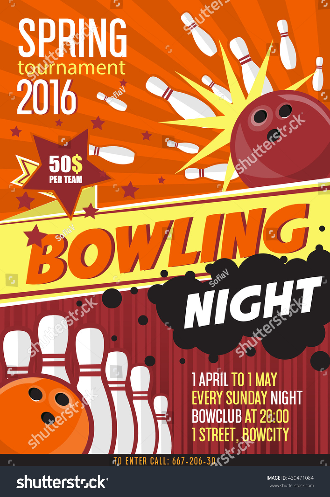 Bowling Tournament Poster Template Design Bowling Stock