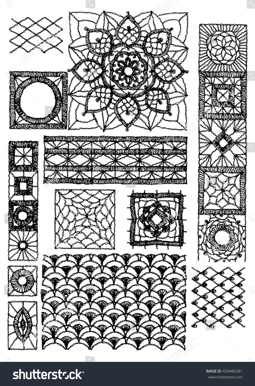 Set Isolated Knitted Lace Borders Openwork Stock Vector (2018 ...
