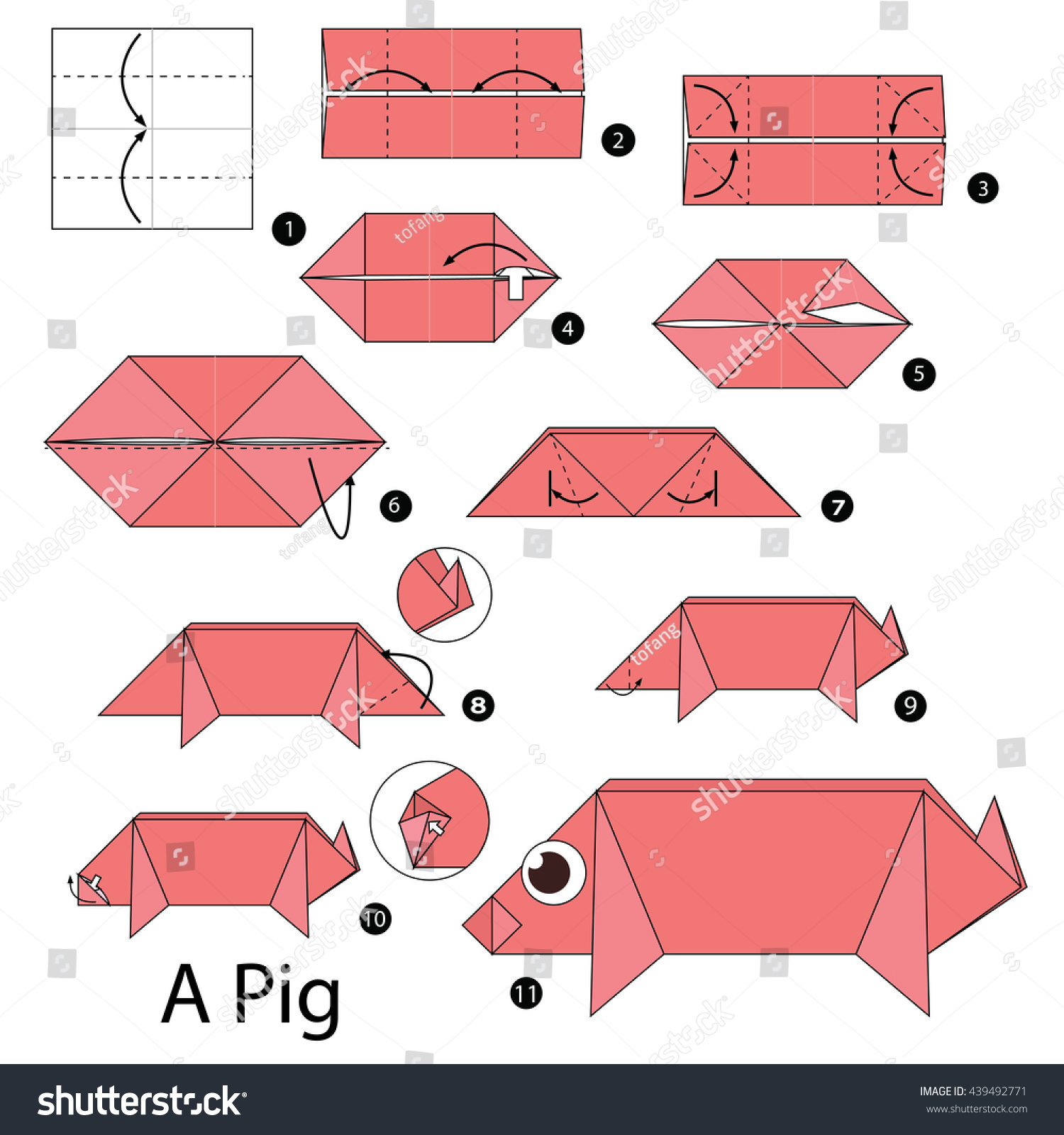 How to make a traditional origami pig: page 1   1600x1500