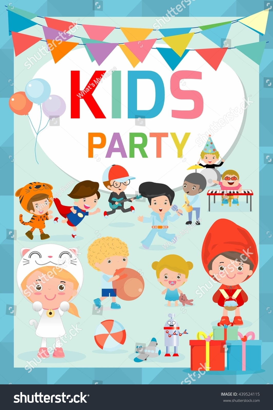 kids party design template children happy stock vector 439524115 kids party design template children happy party celebration flyer banner or pamphlet template