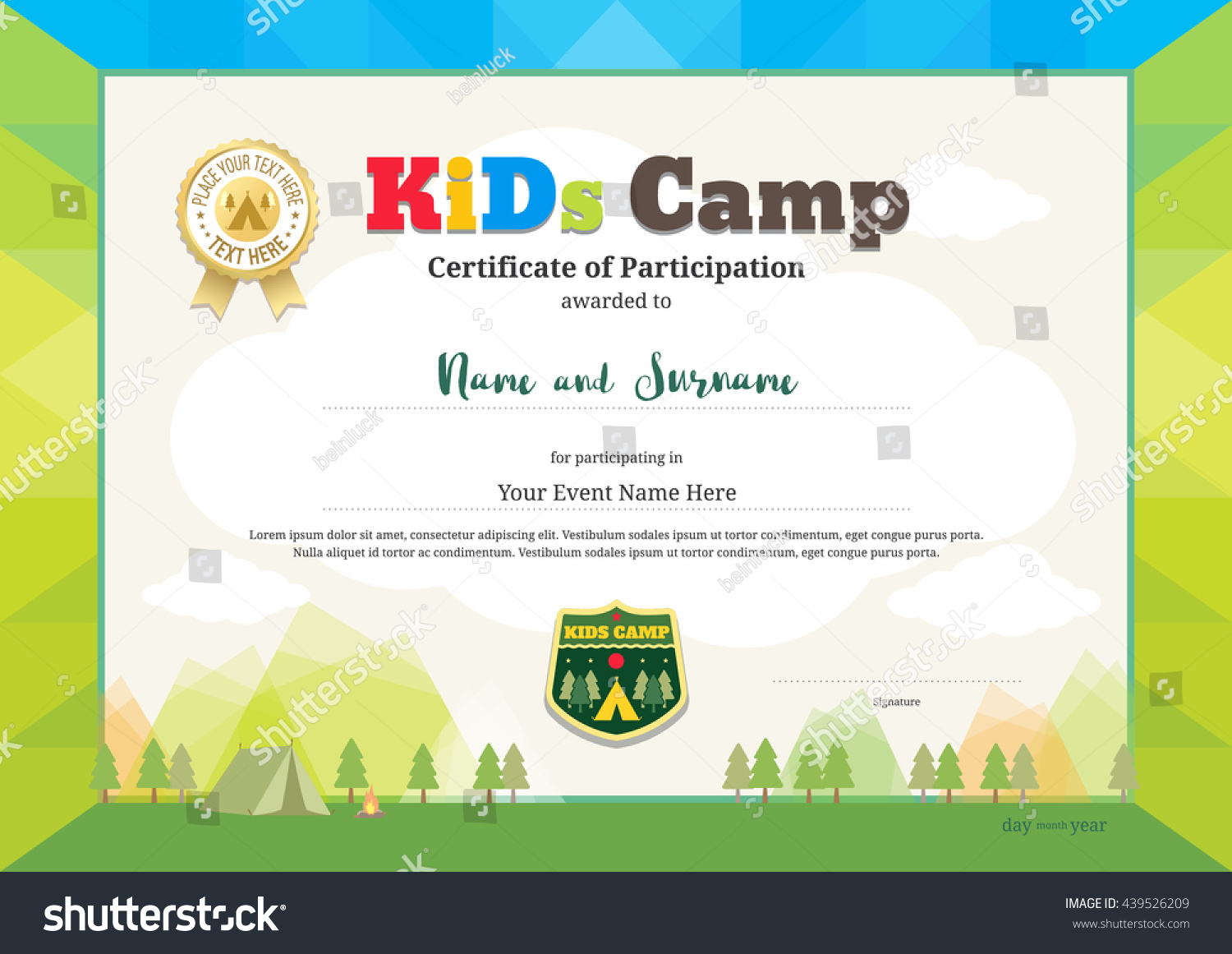 Kids summer camp certificate document employee separation form colorful modern certificate participation kids activities stock stock vector colorful and modern certificate of participation for yadclub Choice Image