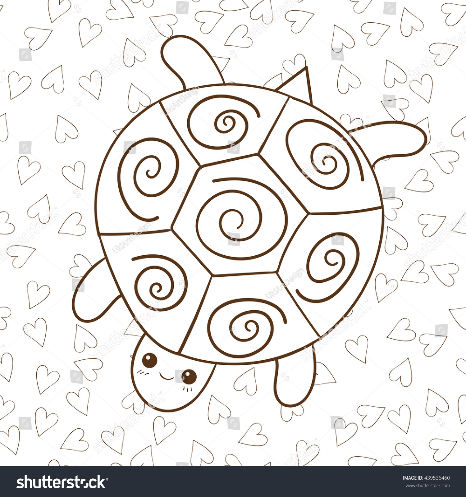 coloring book cute turtle heart on stock illustration 439536460