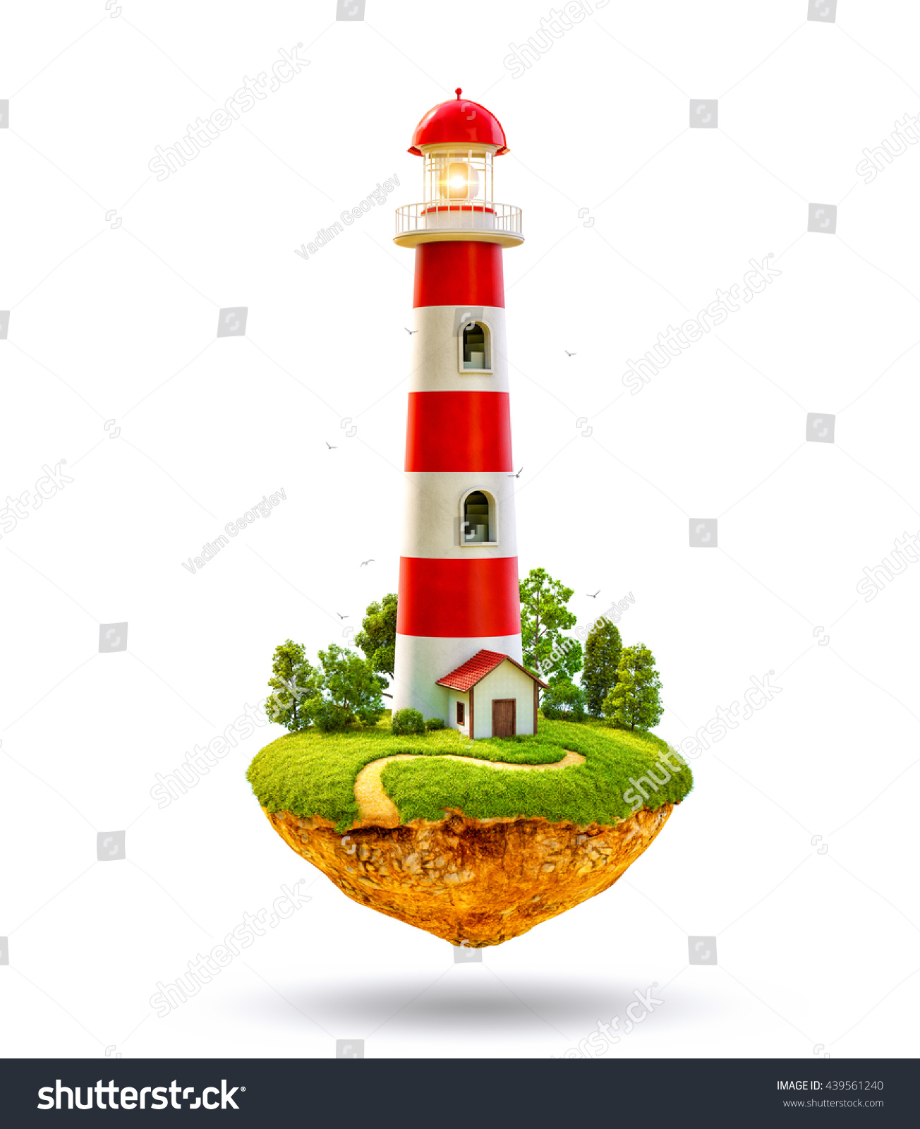 Fantastic lighthouse on a levitating island Unusual creative 3D illustration Isolated at white background
