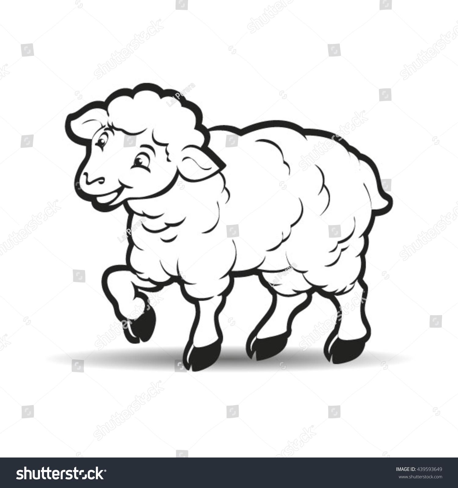 Happy Lamb Looking Forward Outlinevector Drawing Stock Vector ... for lamb drawing outline  535wja