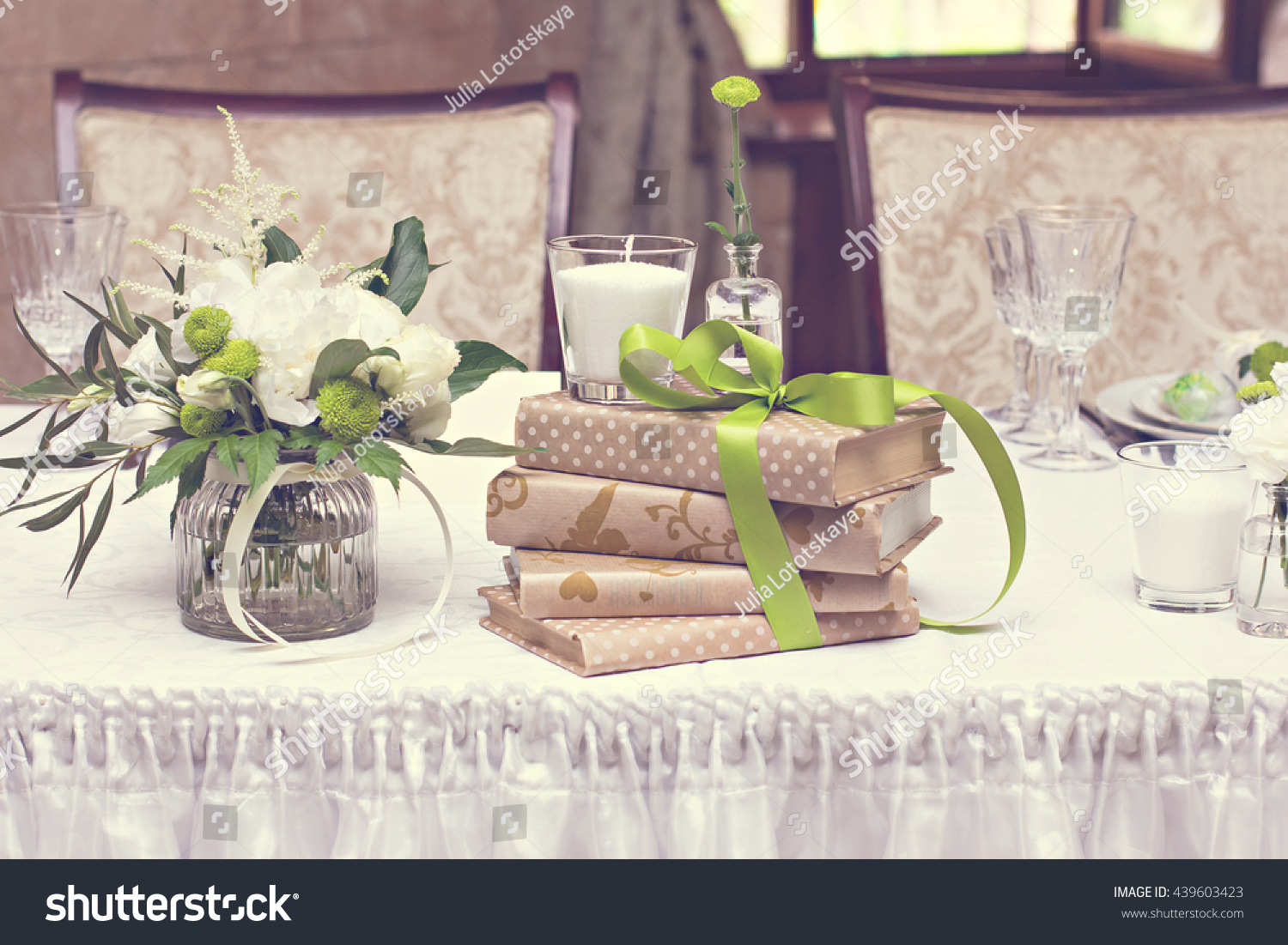 Bouquet White Flowers Wedding Table Decor Stock Photo Royalty Free