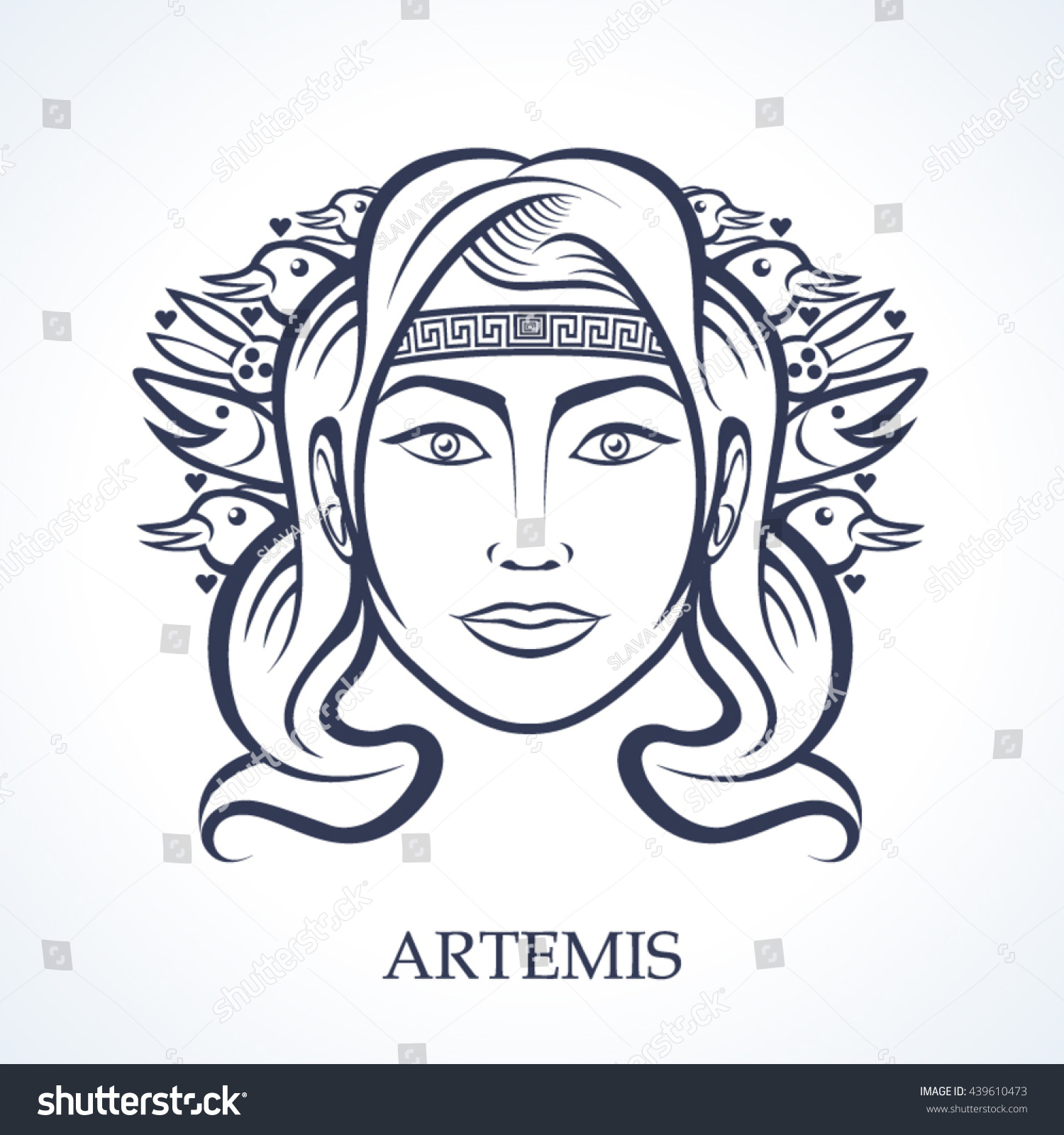 artemis greek goddess hunting stock vector 439610473 shutterstock