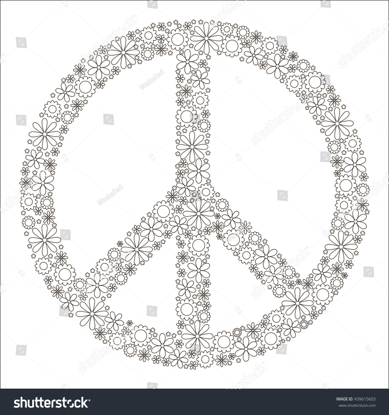 Childrens Coloring Book Symbol Peace Pacific Stock Vector 2018