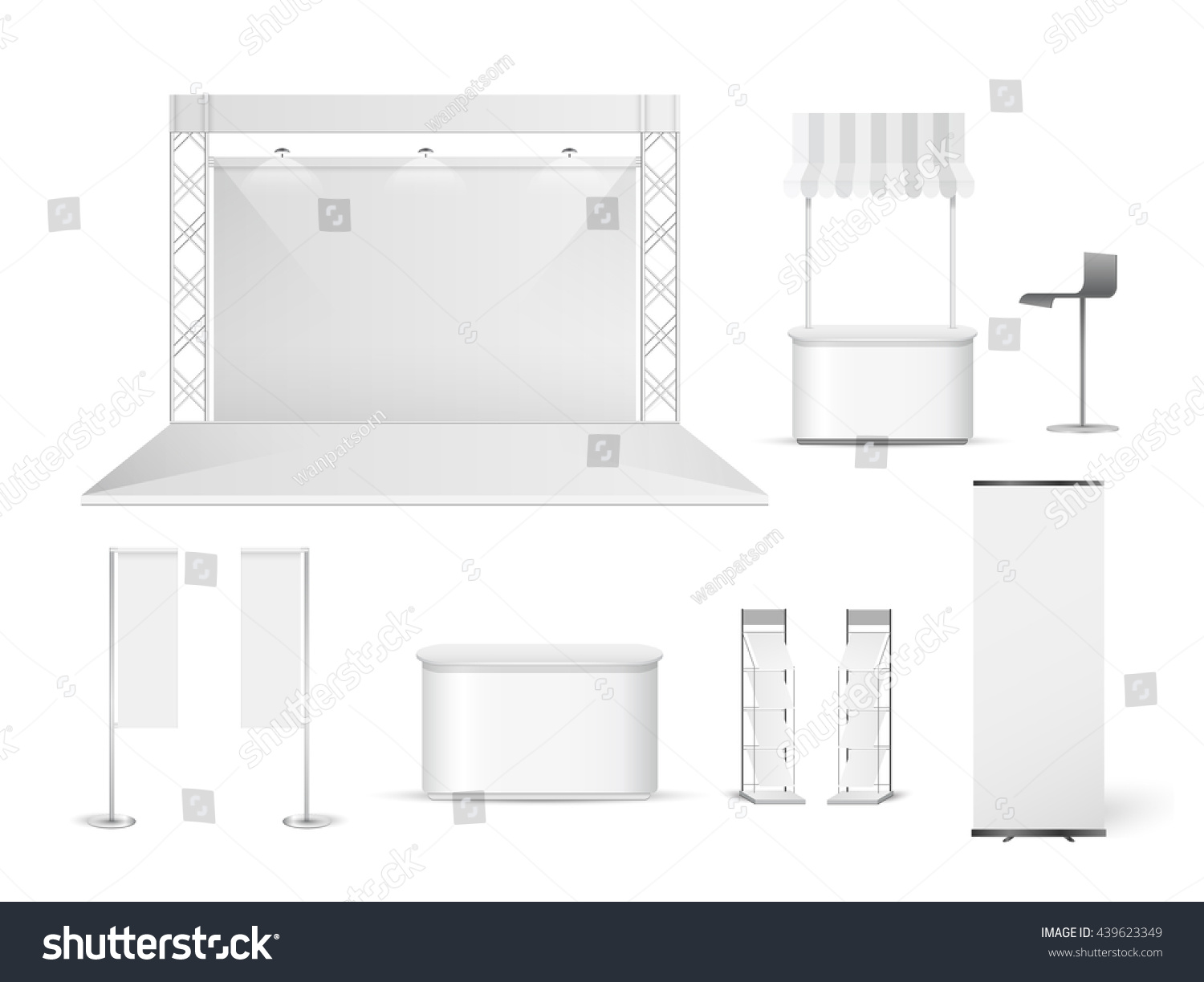 Simple Exhibition Stand Vector : White creative exhibition stand design booth stock vector