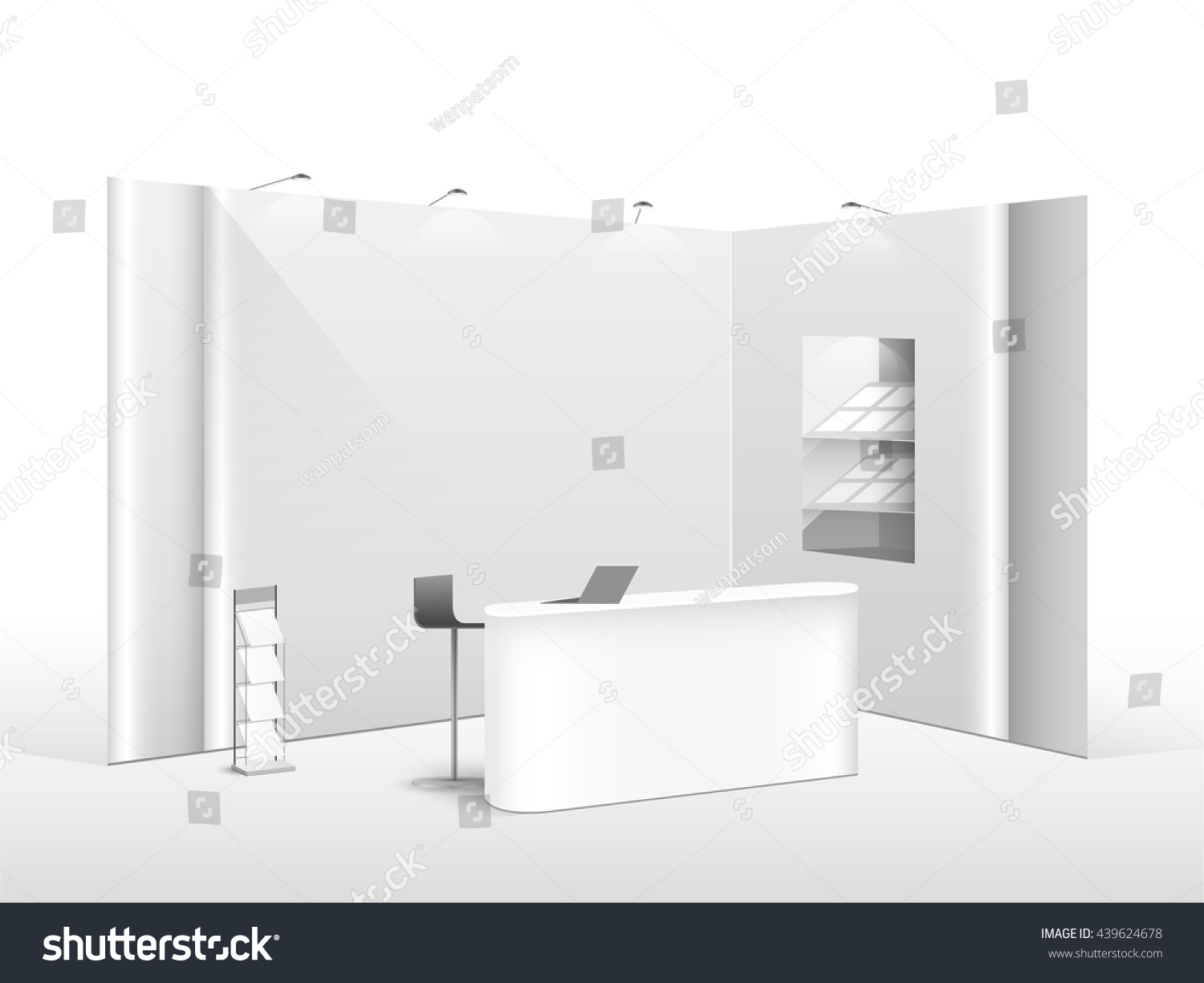 Exhibition Stand White : White creative exhibition stand design booth stock vector royalty