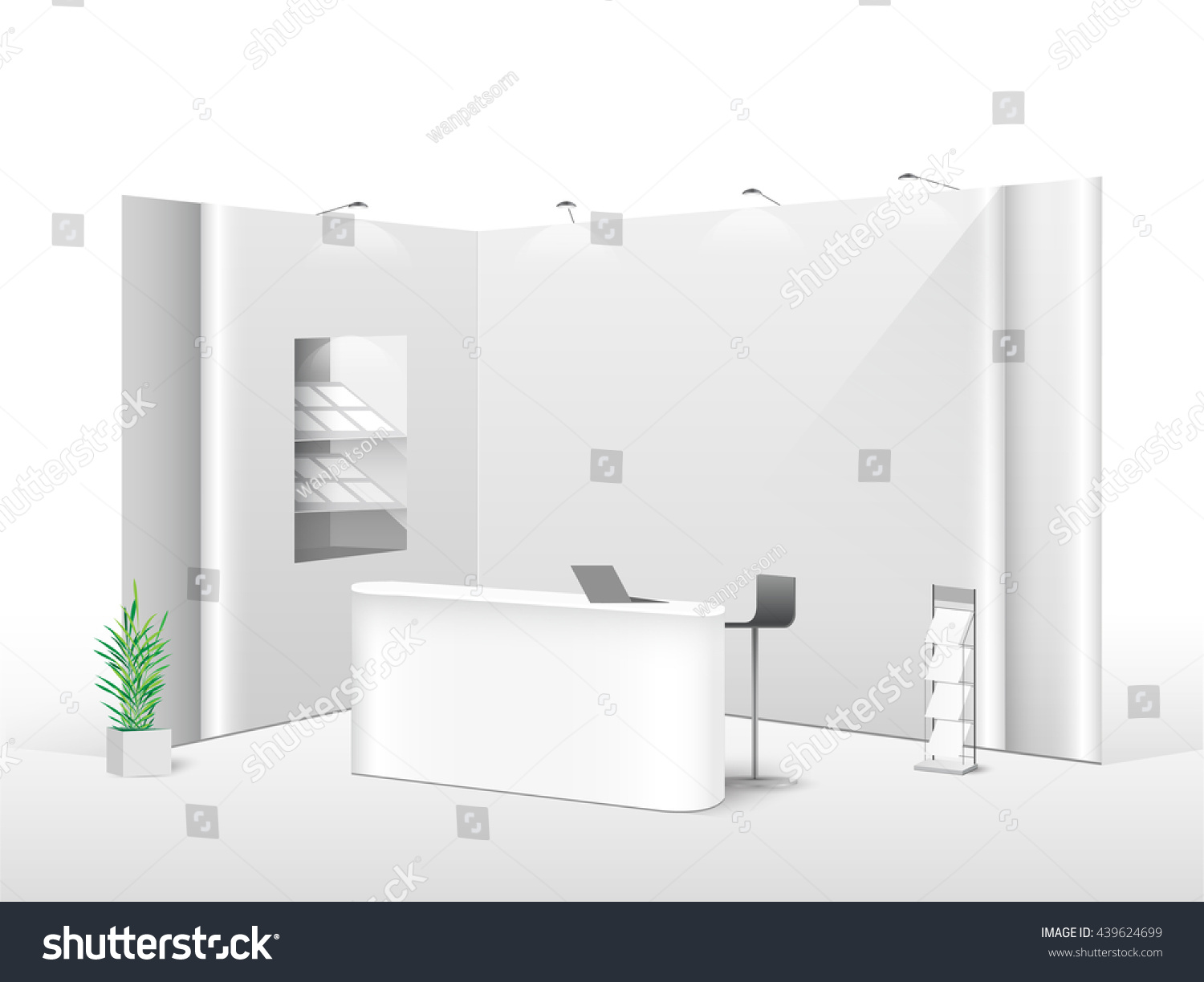 White creative exhibition stand design Booth template Corporate identity vector