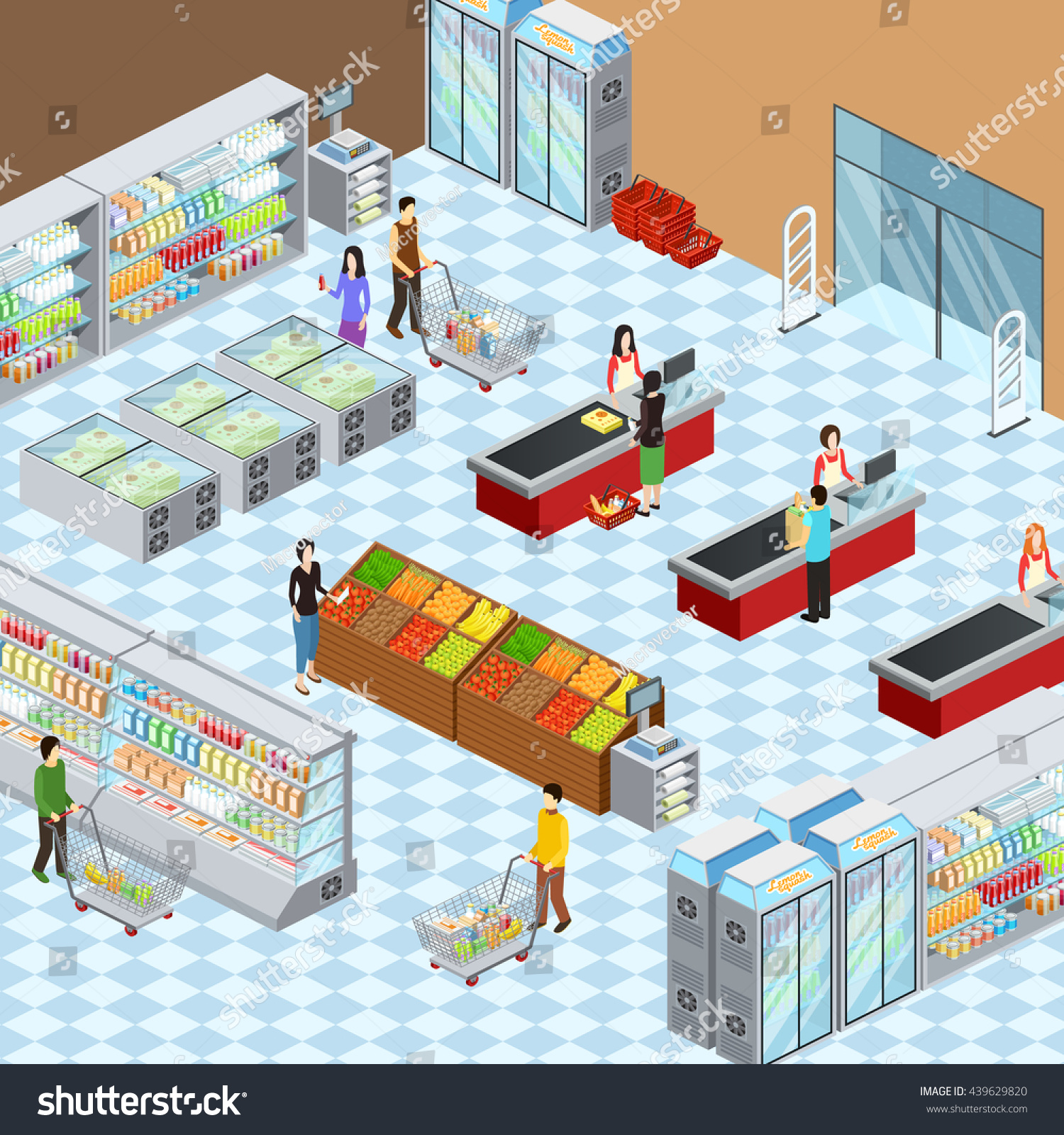 Supermarket Grocery Store Interior Design Isometric