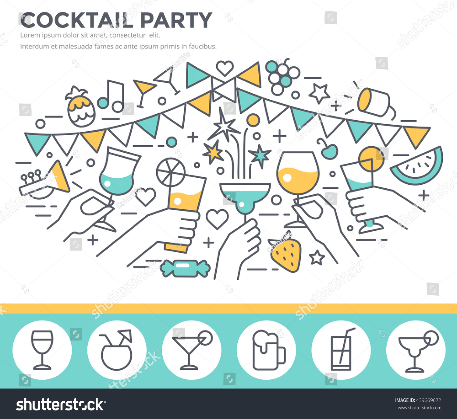 cocktail party invitation concept template hands stock vector cocktail party invitation concept template hands of friends alcohol drinks making toast vector illustration