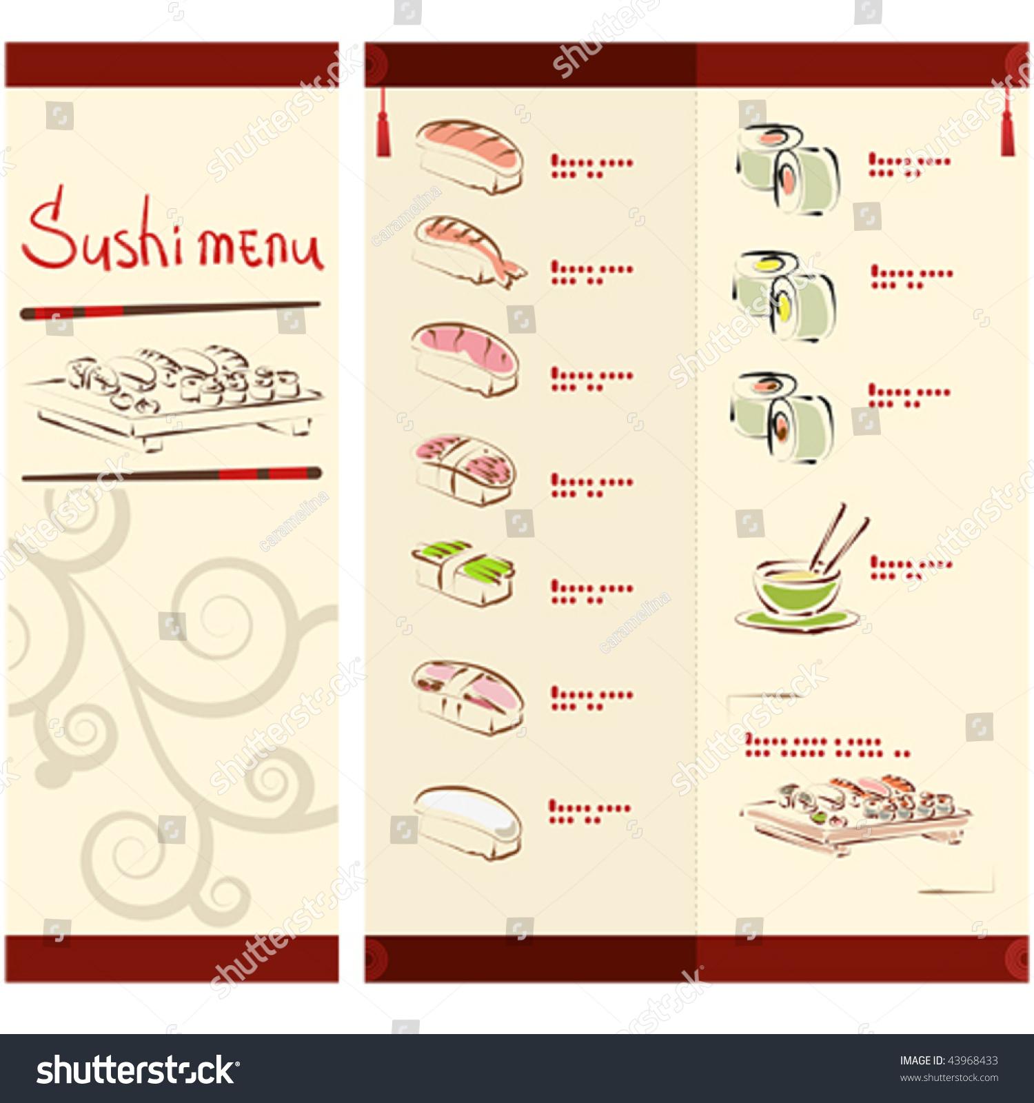 Sushi menu template stock vector 43968433 shutterstock sushi menu template pronofoot35fo Gallery