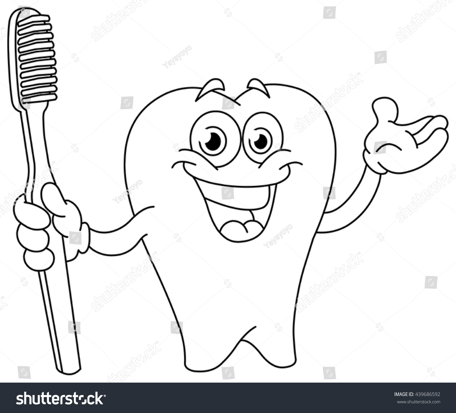 outlined cartoon tooth holding toothbrush vector stock vector