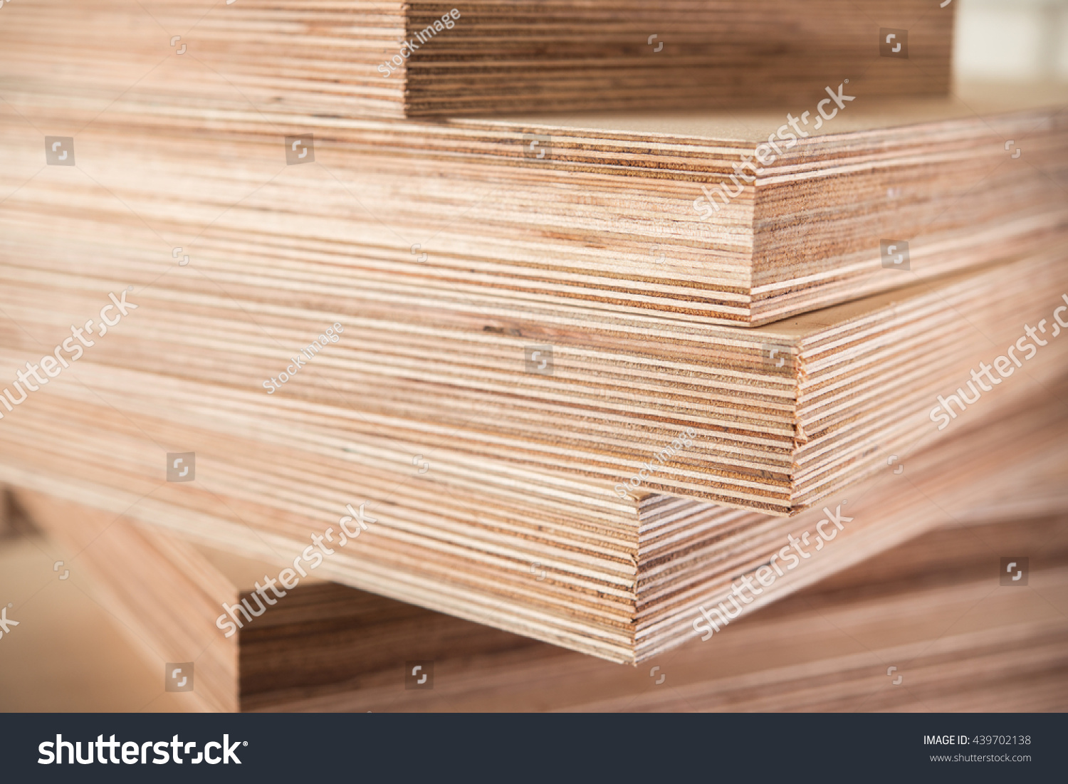 Plywood boards on the furniture industry stock photo